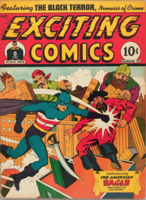 Exciting Comics #22: 1st Appearance of the American Eagle. Click for current values.