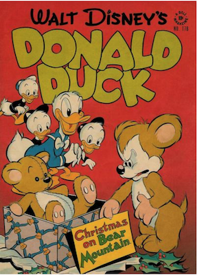 Four Color #178: Donald Duck in Christmas on Bear Mountain by Carl Barks; First appearance of Uncle Scrooge. Click for values