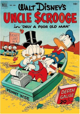 Four Color #386: Uncle Scrooge (#1) in Only a Poor Old Man by Carl Barks. Click for values
