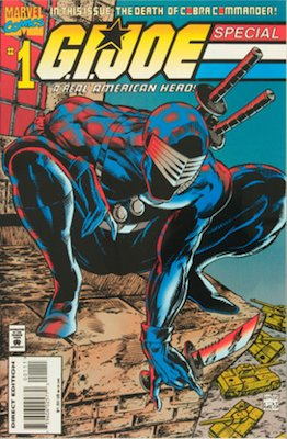 GI Joe Special #1 1995, cover swipe by Todd McFarlane featuring Snake Eyes. Click for values