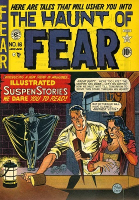 Haunt of Fear #16 (1950): Origin and first appearance, Old Witch; Classic Graham Ingels artwork. Click for values of this most valuable horror comic book