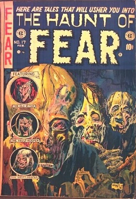 Haunt of Fear #17 (1950): Origin stories for Crypt of Terror, Vault of Horror, and Haunt of Fear; Classic Graham Ingels artwork. Click for value