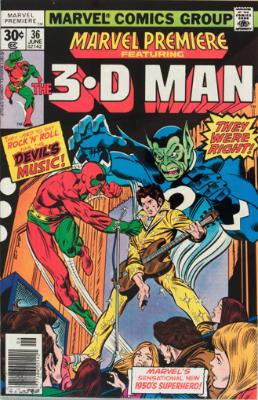 Marvel Premiere #36 (June, 1977): 3-D Man. Click for values