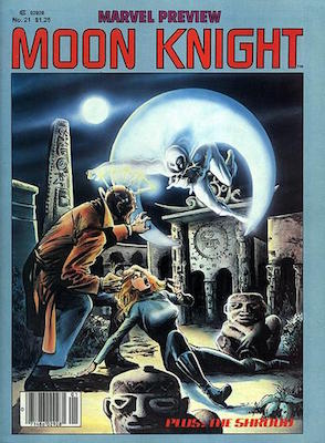 Marvel Preview #21, early Moon Knight Story. Click for values