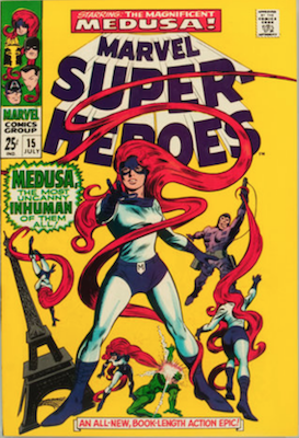 Marvel Super-Heroes #15: Black Bolt cameo in Medusa story. Click for values