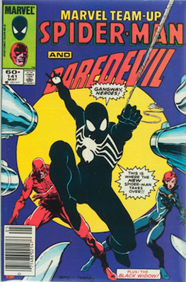 Marvel Team-Up #141: Ties for first Symbiote/Black Spider-Man Costume Appearance. Click for values