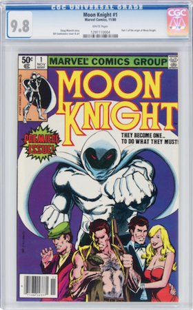 For a common book like Moon Knight 1 (1980), you need to insist on CGC 9.8 with white pages. Click to buy a copy