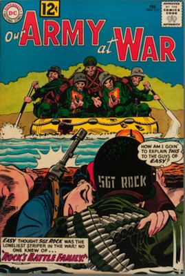 Our Army at War #115: Sgt. Rock revealed to be an orphan; Mme Marie crossover; 1st Sgt. Rock's Battle Family. Click for values