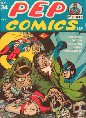 PEP Comics #34: Classic Nazi WWII cover. Click for values