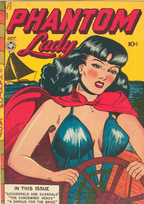 Phantom Lady #14, classic Matt Baker comic book cover art. Click for value