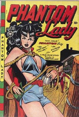 Phantom Lady #17: classic 'headlights' cover by Matt Baker. Click for values