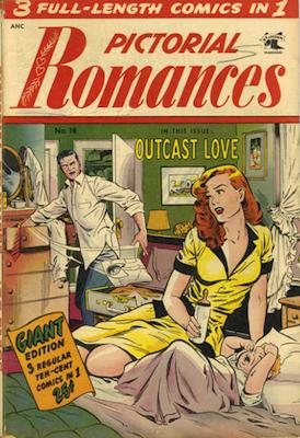 Pictorial Romances #18: classic Matt Baker cover. Click for values