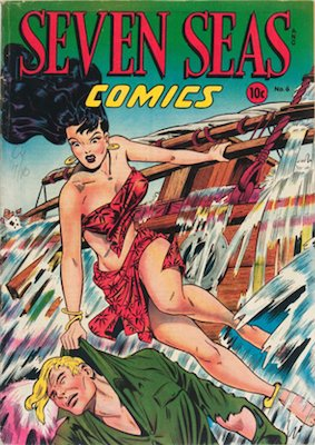 Seven Seas #6: Matt Baker cover. Click for values
