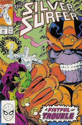 Silver Surfer v3 #44 (1990): 1st Appearance of Infinity Gauntlet. Click for value