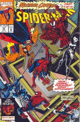 Spider-Man (1990) #35: Maximum Carnage crossover. Click for values