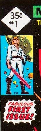 Close up detail of Star Wars 1977 #1 35c reprint Edition. No REPRINT next to Luke. No barcode at bottom left