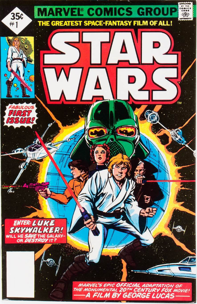 Close up detail of Star Wars 1977 #1 35c reprint Edition. No REPRINT next to Luke. No barcode at bottom left. Click for values