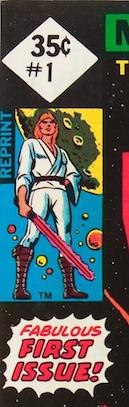 Close up detail of 35c reprint edition. REPRINT in blue beside Luke Skywalker below price box