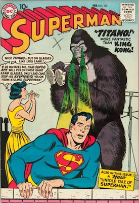 Superman comic book #127: First appearance of Titano