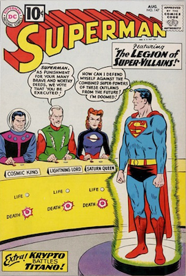 Superman comic #147: First Legion of Super-Villains, swipes Adventure Comics #247