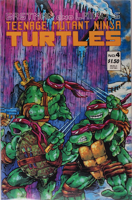 TMNT #4 2nd Printing Error Variant: Accidentally produced with the cover art for Tales of the TMNT #1. Click for values
