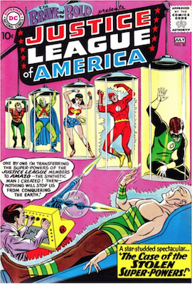 Brave and the Bold #30: Third appearance of the JLA; scarce in high grade. Click for values