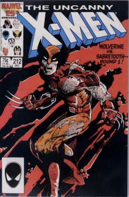 Uncanny X-Men #212: Wolverine vs Sabertooth part one. Click for values