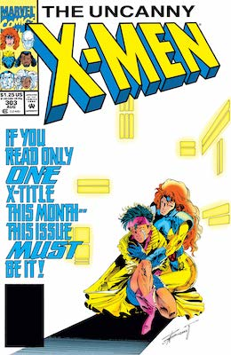 Original version of Uncanny X-Men #303 has an all-white background and is easy to spot. Click for values