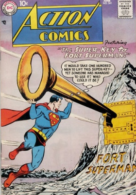 Action Comics #241 (June 1958): First Appearance of the Fortress of Solitude. Click to see values
