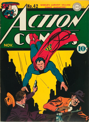 Action Comics #42: Origin of Mr. America's Flying Carpet, Origin and First Appearance of Vigilante. Click for value