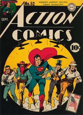 Action Comics #52: Fat Man and Mr. America Become the Americommandos. Click for value
