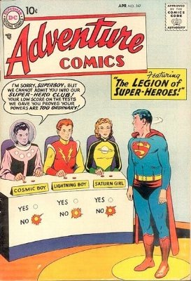 Adventure Comics #247 (April 1958): Origin and First Appearance, League of Super Heroes. Click for values