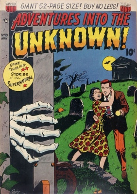 Adventures Into the Unknown #19, the Hands of Horror. Click for values