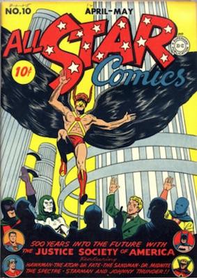All-Star Comics #10 : New Sandman costume. Click for values.