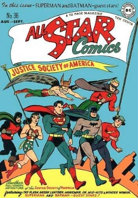 All-Star Comics #36, with Batman and Superman guest-starring together for the first time since issue #7. Both appear on the cover. Click for values