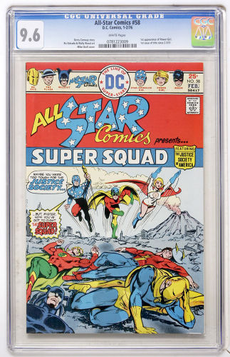 All-Star Comics #58: the ship has already sailed in 9.8. Get a CGC 9.6 and hold on for the ride. Click to buy a copy