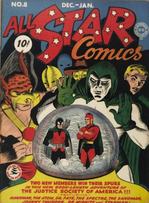 All-Star Comics #8 (December 1941): Origin and First Appearance, Wonder Woman. Record sale: $81,000. Click for values