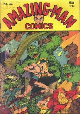 Amazing-Man Comics #22: Classic cover; Hitler appearance. Click for values
