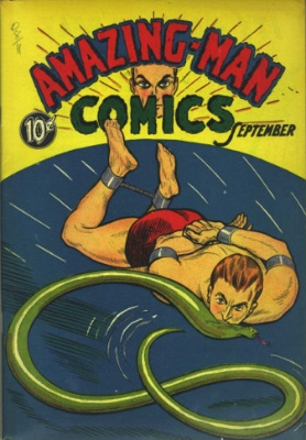 Amazing-Man Comics #5: Origin and First Appearance, Amazing Man, Click for values