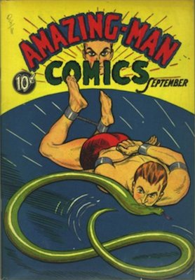 Amazing-Man Comics #5. Origin and 1st appearance of, Amazing-Man, Miniature Man and Ritty, Cat-Man, Mighty Man and Iron Skull