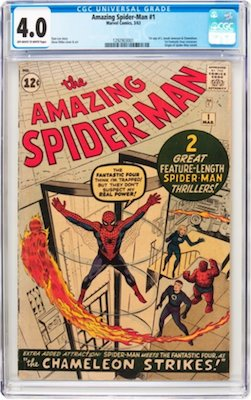 Hot Comics #17: Amazing Spider-Man #1. A CGC 4.0 is about the sweet spot for ROI. Try to find one which presents nicely from the front and without Marvel chipping. Click to buy a copy
