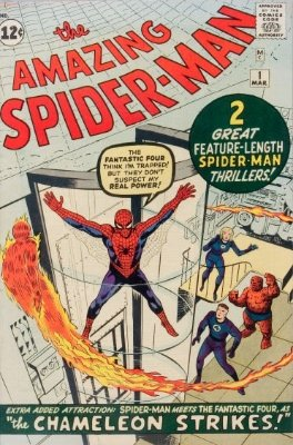 The Amazing Spider-Man #1 (March 1963): First Issue, Classic Kirby/Ditko Cover. Fifth most expensive Silver Age comic book and highly sought-after. Click for values