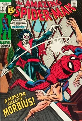 Origin and First Appearance, Morbius the Living Vampire, Amazing Spider-Man #101, Marvel Comics, 1971. Click for value
