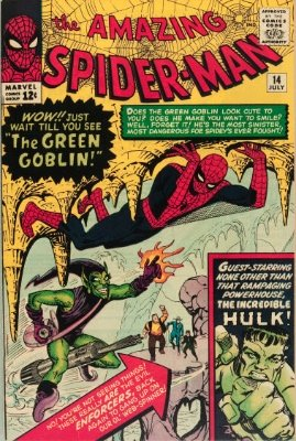 Spider-Man Villains: The Green Goblin (Amazing Spider-Man #14, July, 1964). Click for values