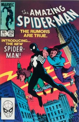 Amazing Spider-Man #252: Ties for first Symbiote/Black Spider-Man Costume Appearance. Click for values