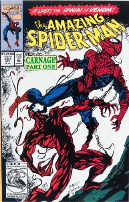 Origin and First Appearance, Carnage, Amazing Spider-Man #361, Marvel Comics, 1992. Click for value