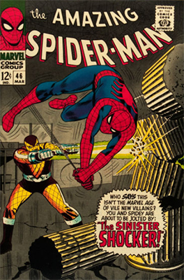 Origin and First Appearance, Shocker, Amazing Spider-Man #46, Marvel Comics, 1967. Click for value