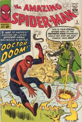 Top 50 silver age comics #40: Amazing Spider-Man #5 (Oct 1963): Doctor Doom Appearance. Click for values