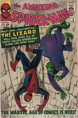 Amazing Spider-Man #6 (Nov 1963): First Appearance, Lizard. 18th on the Silver Age most valuable list. Click for values