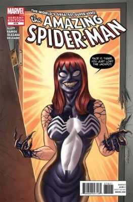Amazing Spider-Man #678 (2012): Mary-Jane as Venom variant. Click for value